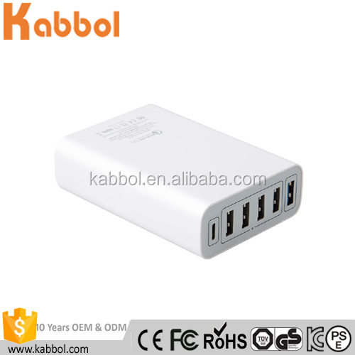 2016 Kabbol USB Smart Cable Charger 60W 6 Port USB Plug Charger with Quick Charge 3.0 and Type C ports for Smartphones