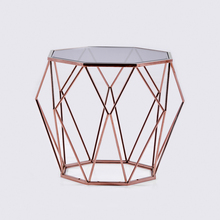 Luxury designer rose gold modern glass coffee table with stainless steel