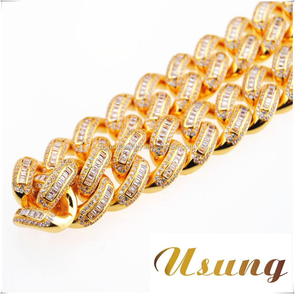 19mm princess cut diamond iced out miami cuban link chain