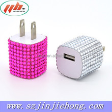 Nice design fashion universal usb wall charger with diamond surface for all mobile devices