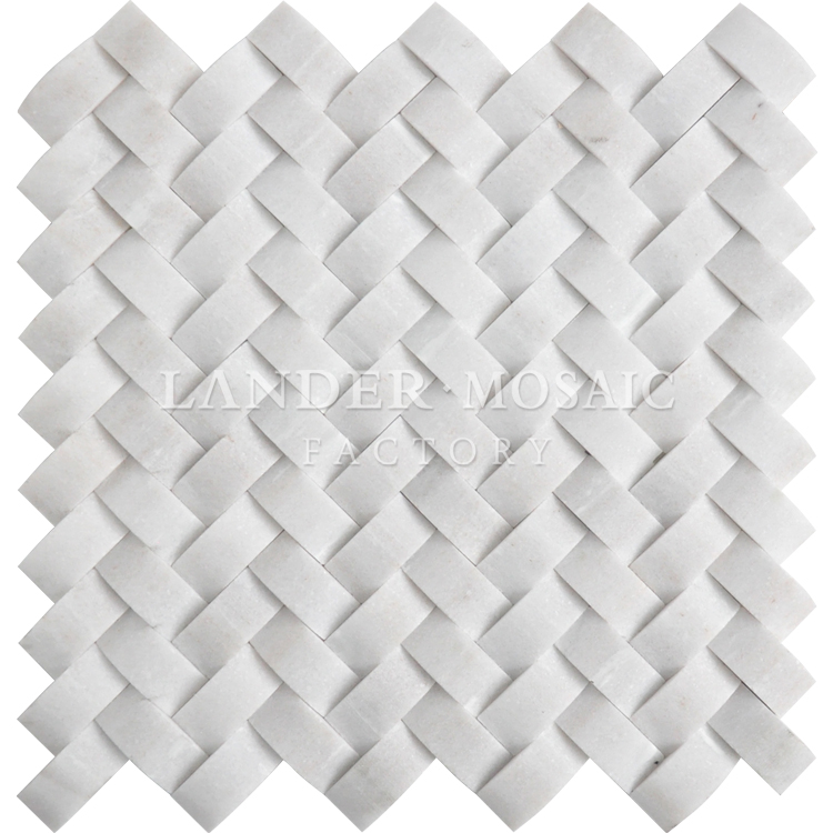 pure white marble mosaic 3D view exterior wall stone mosaic tile
