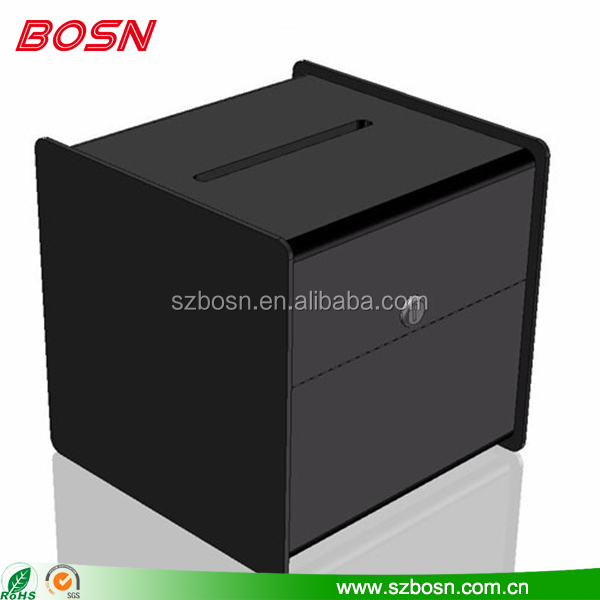 High quality black acrylic box lucite Perspex suggestion vote case with lock