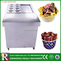 Fire-new Ice Frying Machine/Single Flat Pan Fried Ice Cream Machine/with Cold Storage Bucket