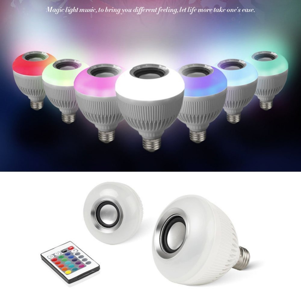 Wireless Bluetooth Control Bulb LED Music Audio 6W E27 Speaker RGBW Music Playing Light Lamp 24 Keys IR Remote Control