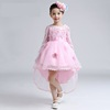 2017 autumn long sleeve pink kids flower dresses tulle net frock designs for children