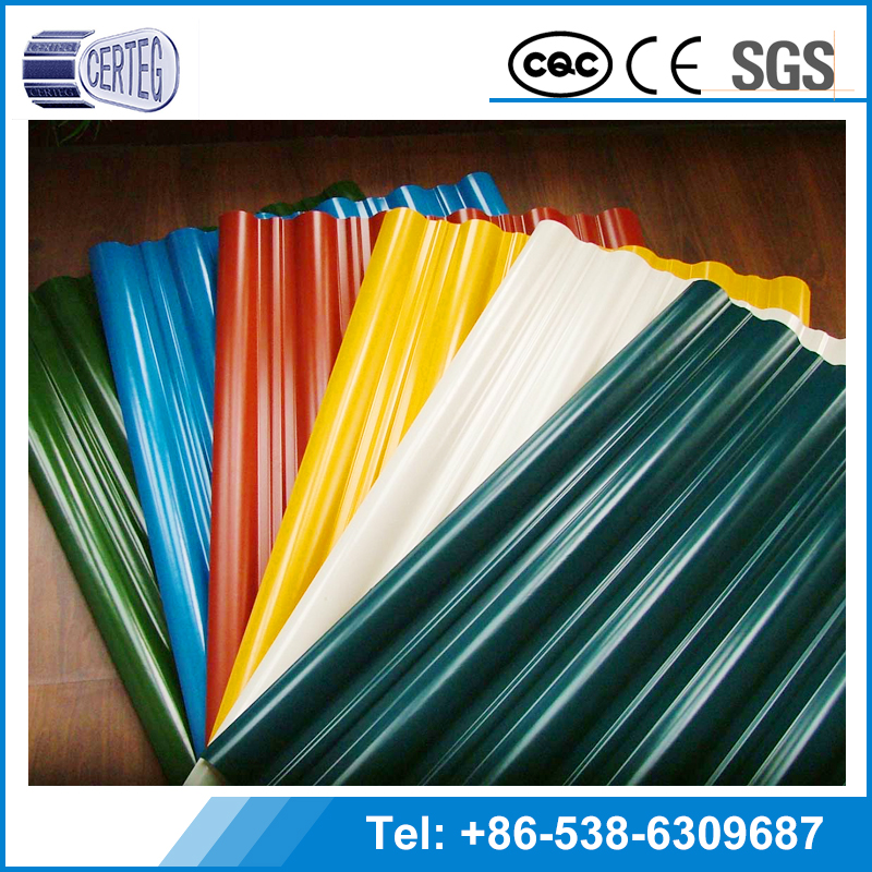 Color prepainted corrugated galvanized / galvalume steel sheet metal / zinc coated GI GL roofing sheet price