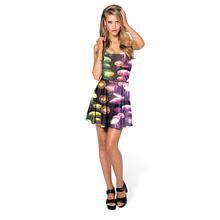 The Latest Design New Fashion 3d Digital Print Formal Clothes Women Ladies Sleeveless Dress