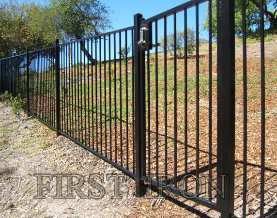 Wrought iron fence for farm, iron security fence, tall iron fence