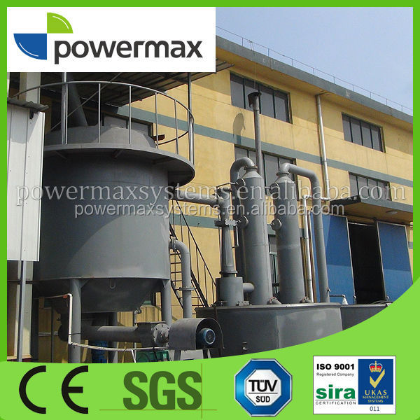 Paper mill waste downdraft fixed-bed gasifier