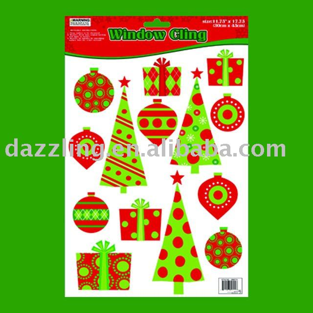 Window Cling / Sticker - Christmas Tree and Ornament