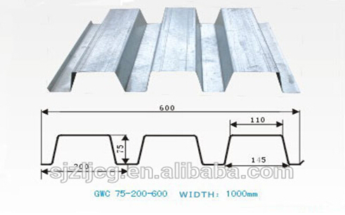 YX70-200-600 steel galvanized floor decking sheet