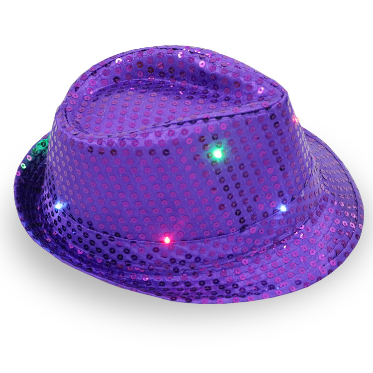 Custom Party Led Light Supreme Fedora Juzz Hat With Sequins - Buy ... f9c6a491cce