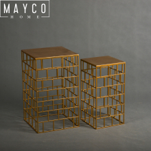 Mayco Golden Rectangular Nesting Designed Accent Metal Modern Side Table
