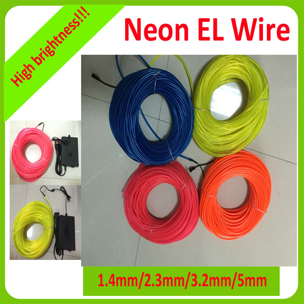 High bright 100m el wire roll/glowing light wire with multi colors for decoration