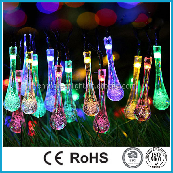 Multi Color 20 LED Waterproof Solar String Light for Outdoor Decoration