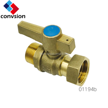 01194 Natural Metal Color Brass Lockable Lever Handle Male and Female Thread Ball type 1 inch Water Meter Valve