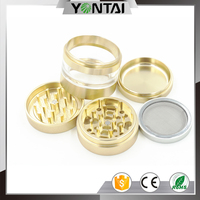 New design premium aluminium 4 piece wholesale herb spice grinder with interchangeable mesh screen