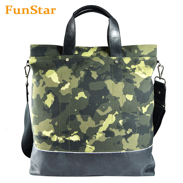 Unisex Canvas and Leather Tote Bag Camouflage Shoulder Bag Weekender Women Man