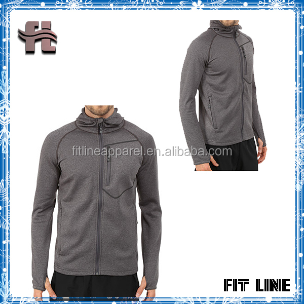Men's 100%Polyester Branded Jogging Hoodie With Thumbhole , Long Sleeve Water And Wind Resistant Hoodie With Chest Pocket