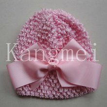 2012 charming pink waffle hats with hair bow clips
