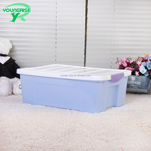 Custom 10 litre attached white lid powderblue logistic plastic container for little toy storage