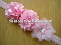 CF 0833 top infant toddler pink petti double satin mesh flower elastic flower baby headband