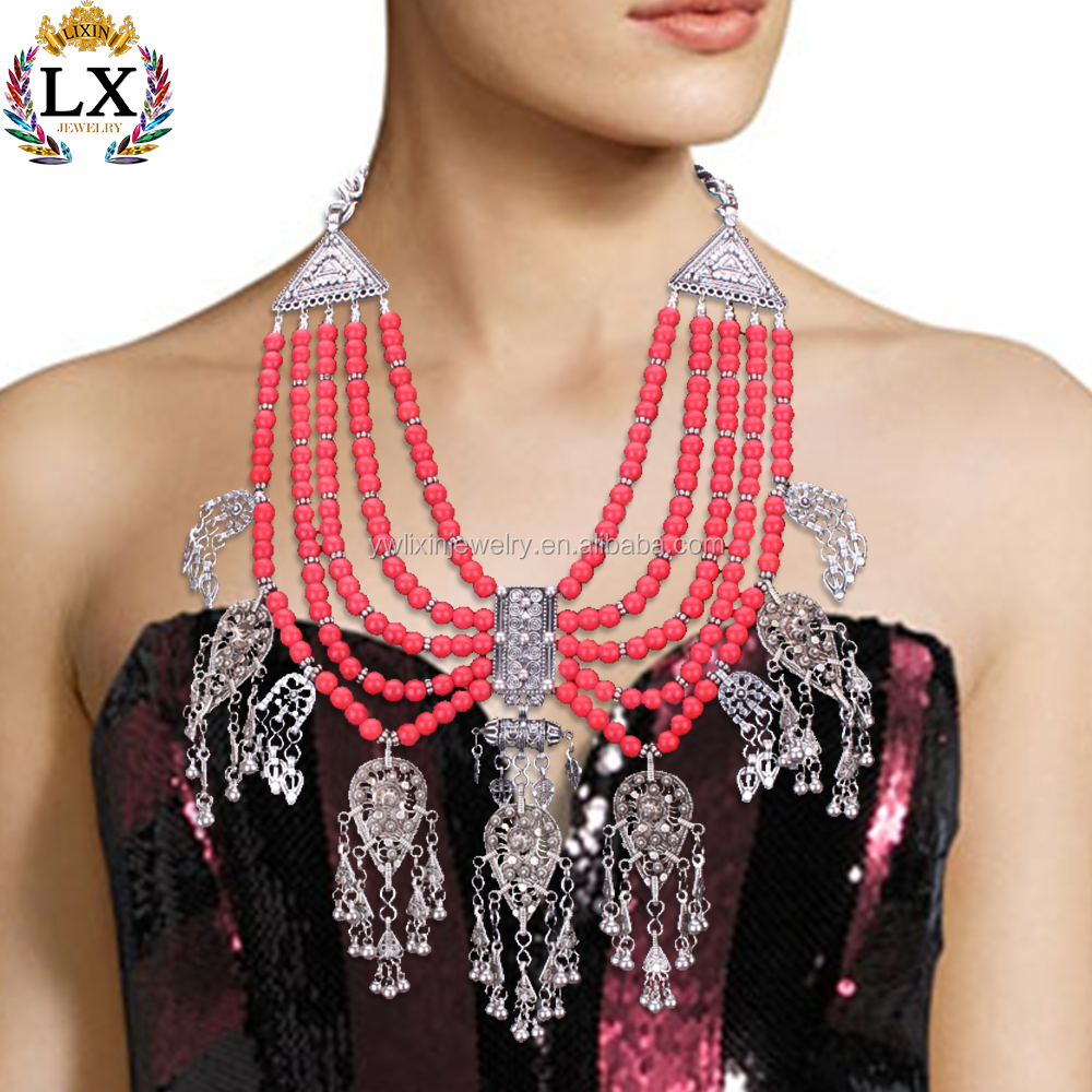 NLX-00325 African style fashion red beads big statement chunky necklace with wax multi layer bead necklace wholesale accessories