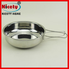 camping hot sale stainless steel collapsible cooking pan