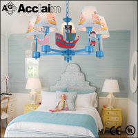 Nordic American Pastoral Mediterranean pirate ship children's bedroom chandelierboy study fashion personality cartoon lamps
