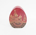 Easter egg shape candy gifts metal tin box flat base standing