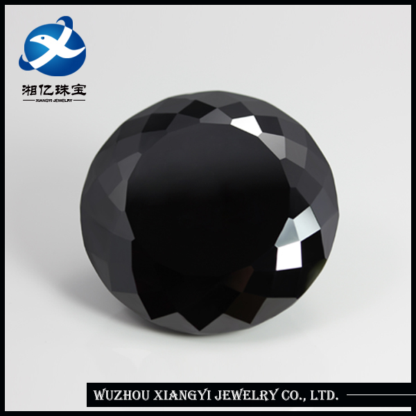 Mysterious Black Round Brilliant Cut 20mm synthetic cubic zirconia stone ring