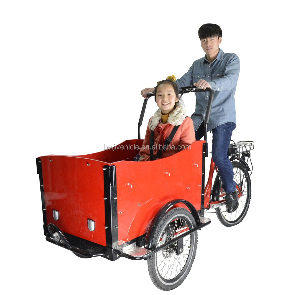 CE family bakfiets pedal assisted 3 wheel heavy duty cargo bike with cabin
