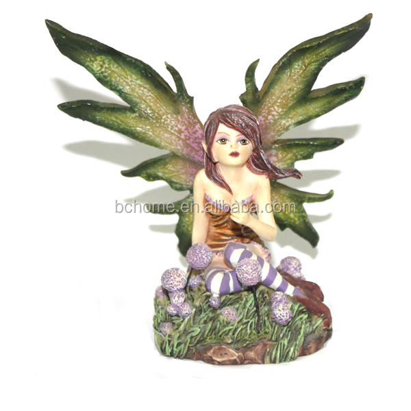 Small polyresin flower fairy figurine for home decoration
