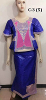 C-3(5) Good price African bazin women's dress royal blue jacquard clothing for Nigerian