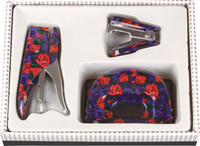 2016 unique design metal 3 pieces floral mini office stationery set