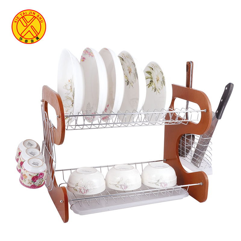 Kitchen Chrome Plated Iron Dish Rack with cup Box