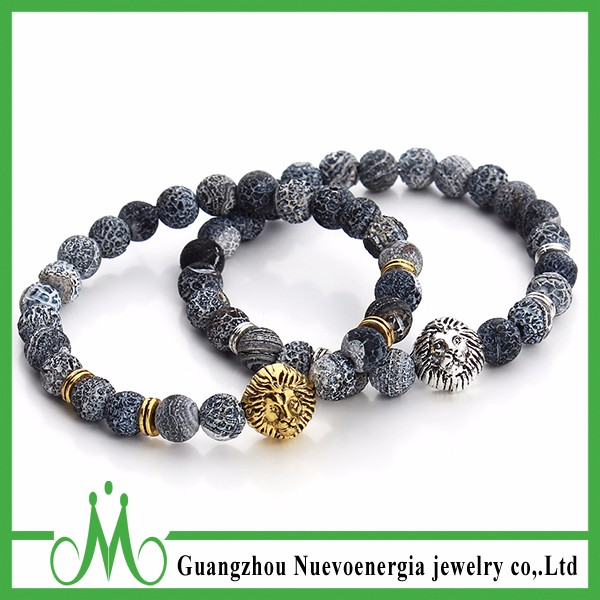 Guangzhou Gemstone Jewelry Men Natural Stone Weathered Agate Beads Bracelet