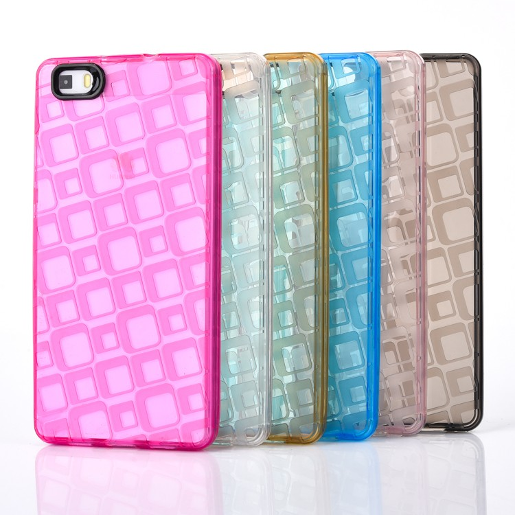 NEW Grid Pattern Soft TPU case for HUAWEI P8 lite,for HUAWEI P8 lite case Water Cube design