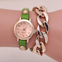 Muliti Color Leather Strap Wrapped Cheap Ladies Chain Watches