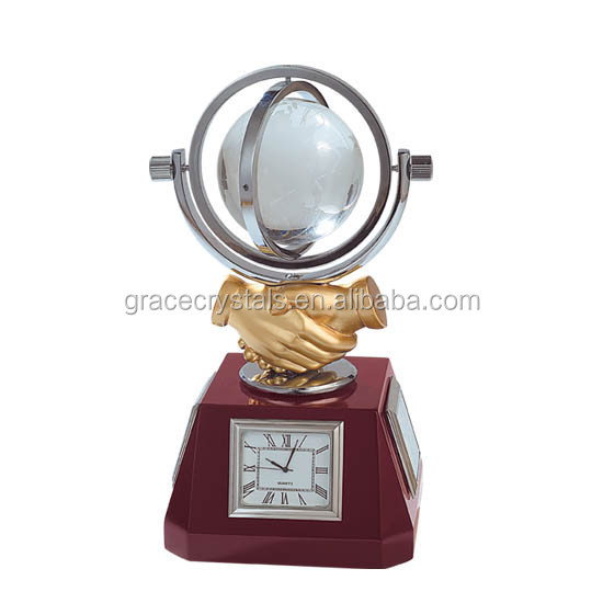 Personalized desk top wooden base crystal globe clock