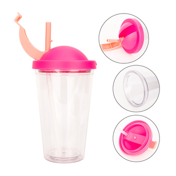 2019 Mlife 16oz Double Wall Clear Plastic Coffee Tumbler With Straw