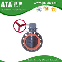 best anti-corrossion fpm lined pp butterfly valve gearbox for chemical industry