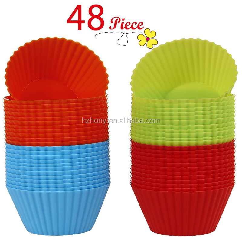 48-Pcs with 4 Rainbow Colors] - Non-Stick, Heat Resist Liners Muffin Reusable Silicone Baking Cups Cupcake