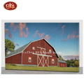 Nice Red Barn Wooden LED  Canvas Painting For Room Decoration