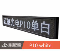 high brightness P10 white single color semi-outdoor LED sign board leds with wifi/usb/GPRS/GSM control card
