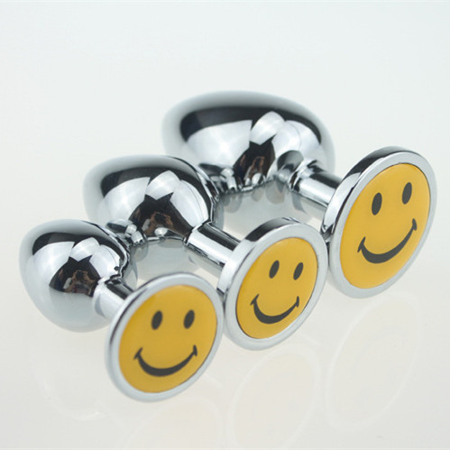 Smile Face Metal Anal Plug Ass Toys Sets For Adults