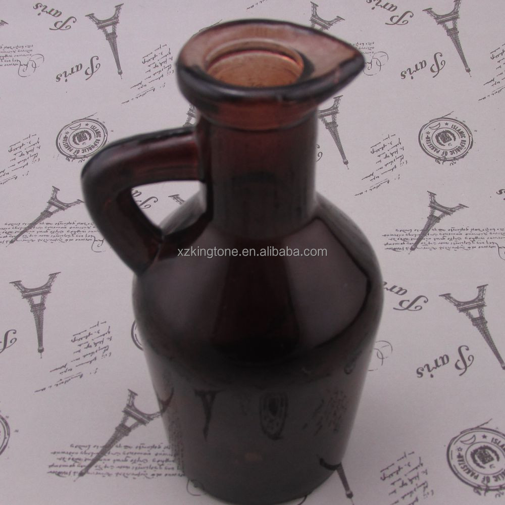2015 new arrival glass bottles for maple syrup/color glass jar with handle