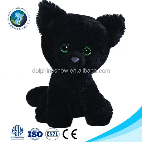 Best selling cute halloween day gift cat toy plush cat toy cheap wholesale promotional stuffed soft plush black halloween cat