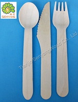 tableware set disposable wooden spoon fork kinfe