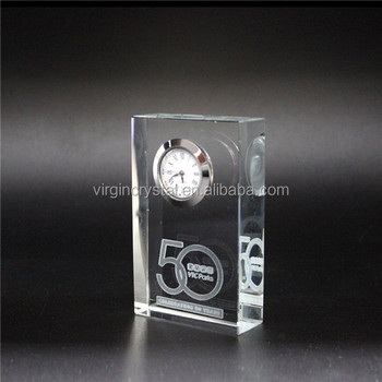 Small business crystal square shape desk clock with customized logo